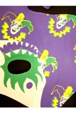 9in x 12in Purple Green Yellow Jester Half Mask