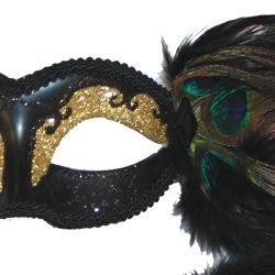 Black Paper Mache Masquerade Mask with Glittery Patterns and Peacock Feathers
