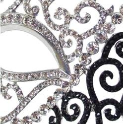 Black and White Rhinestone Eye Masquerade Mask