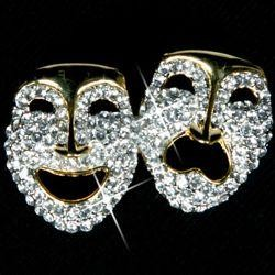 Gold Metal Rhinestone Comedy/ Tragedy Faces Brooch/ Pin