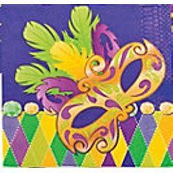 6 1/2in x 6 1/2in Prismatic Mardi Gras 3-Ply Luncheon Napkins