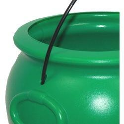 8in Plastic Green Candy/ Doubloons/ Coins Pot-O-Gold