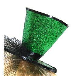 6in Wide x 5in Tall Green Glittered Mini Top Hat