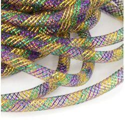 8mm x 30Yds Decor Metallic Mesh Tubing Mardi Gras Colors