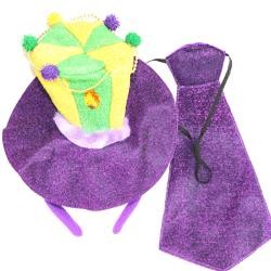 Mardi Gras Headband And Necktie Set