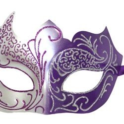 Purple and Silver Masquerade Mask with Silver Glitter Scrollwork