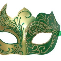 Green and Gold Masquerade Mask with Gold Glitter Scrollwork