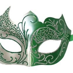 Green and Silver Masquerade Mask with Silver Glitter Scrollwork