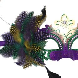Purple, Green, and Gold Masquerade Mask With Rhinestones and Feathers