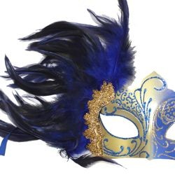 Blue and Gold Masquerade Mask with Blue Feathers
