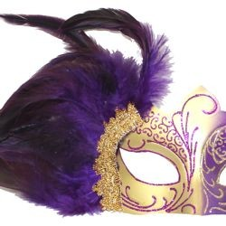 Purple and Gold Masquerade Mask with Purple Feathers