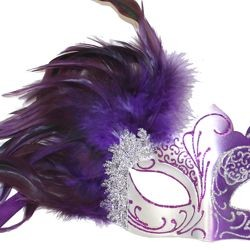 purple and silver masquerade mask with purple feathers on the side
