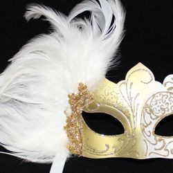 White and Gold Masquerade Mask with White Feathers