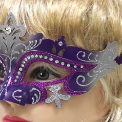 Purple and Silver Masquerade Mask With Rhinestones