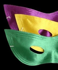 8in x 3.5in Assorted Purple/ Green/ Yellow Satin Cat Eye Mask