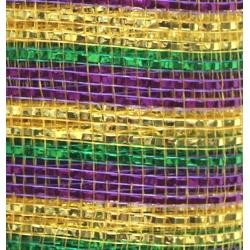 10in x 30ft Premium Mardi Gras Stripes Mesh Ribbon