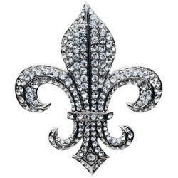 2 1/2in Long x 2 1/4in Wide Rhinestone Silver Fleur-De-Lis Brooch
