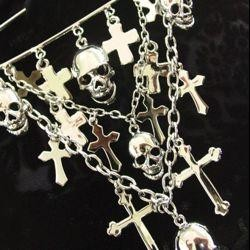 4 1/2in Long x 4in Wide Silver Cross and Skull Brooch