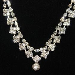 Rhinestone Silver Necklace & Earrings Set