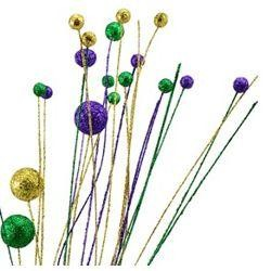 26 1/2in Long Glitter Dangle Mardi Gras Ball Spray