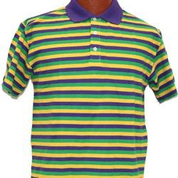 Mardi Gras Style T-Shirt W/Short Sleeve/ Collar Medium Size