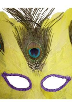 11in  x  18in  Yellow Feather Mask W/Peacock Feathers And Sequin Eye Trim