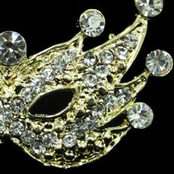2in Wide x 1 1/2in Tall Gold Metal Rhinestone Mask Brooch/ Pin