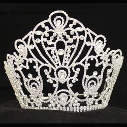 7in Tall x 8in Wide Silver Rhinestone Party Tiara