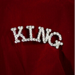 1 1/4in Long x 1/3in Tall Rhinestone King Brooch/ Pin