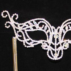 Rhinestone Silver Eye Masquerade Mask on a Detachable Stick