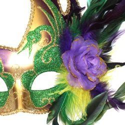 Venetian Feather Styled Purple, Green, and Gold Masquerade Mask