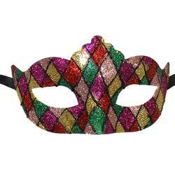 Venetian Paper Mache Masquerade Masks with Domino Patches