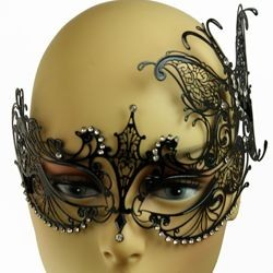 Venetian Black Metal Laser Cut Butterfly Masquerade Mask with Rhinestones