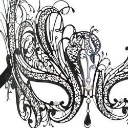 Venetian Black Metal Laser Cut Butterfly Masquerade Mask with Rhinestones