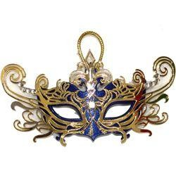 4in Wide x 2in Tall Assorted Colors Mini Laser Cut Venetian Mask w/ Magnet
