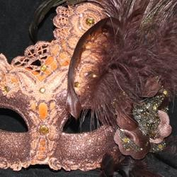 Venetian Macrame Brown Masquerade Mask with Rhinestones And Feathers