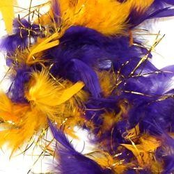 Purple and Gold Feather Boa with Tinsel