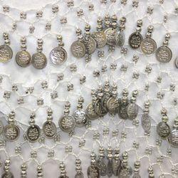 White Sash W/Metallic Silver Coins
