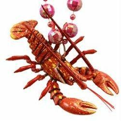 Bobble Beads: Crawfish, Lobster on Pink Disco Ball Bead