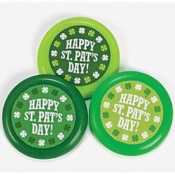 3 1/2in Plastic St Patricks Flying Disks