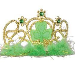 Plastic Shamrock Tiara w/ Combs Attached w/ Faux Gemstones And Maribu Trim {st patrick, 6in 3 1/2in