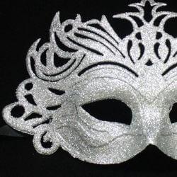 Glittered Plastic Silver Face Masquerade Mask