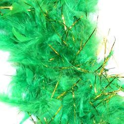 7-8in Green Boa Feather w/ Gold Tinsel