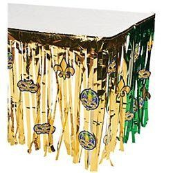 29in Wide x 9ft Long Mardi Gras Fringe Table Skirt w/ Cutouts