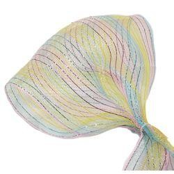 10in Wide x 30ft Long Poly Mesh Ribbon: Pink/ Yellow/ Light Blue w/ Metallic Stripes