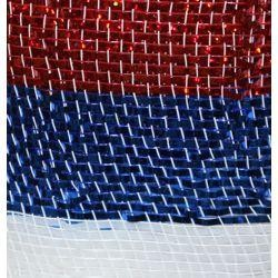 21in x 30ft Premium Red/ White/ Blue Stripes Mesh Ribbon/ Netting