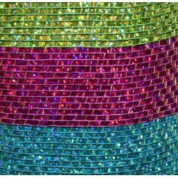 21in x 30ft Premium Hot Pink/ Light Blue/ Lime Green Stripes Mesh Ribbon/ Netting