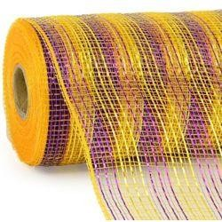 10in Wide x 30ft Long Poly Mesh Roll: Deluxe Thin Stripe Purple/Gold