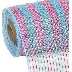 10in Wide x 30ft Long Poly Mesh Roll: Light Blue/ Pink w/ Metallic Stripes