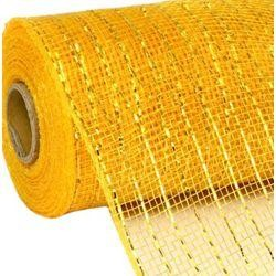 10in Wide x 30ft Long Poly Mesh Roll: Metallic Bright Gold